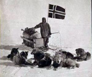 Roald Amundsen op de Zuidpool (via www.historiek.net)